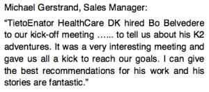 Udtalelse fra Michael Gerstrand, Sales Manager Tieto Enator