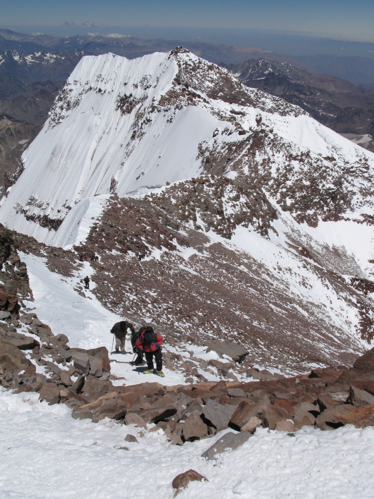 Undervejs på det sidste stykke mod toppen af Aconcagua i 2007 gennem snekorridoren kaldet La Canneleta